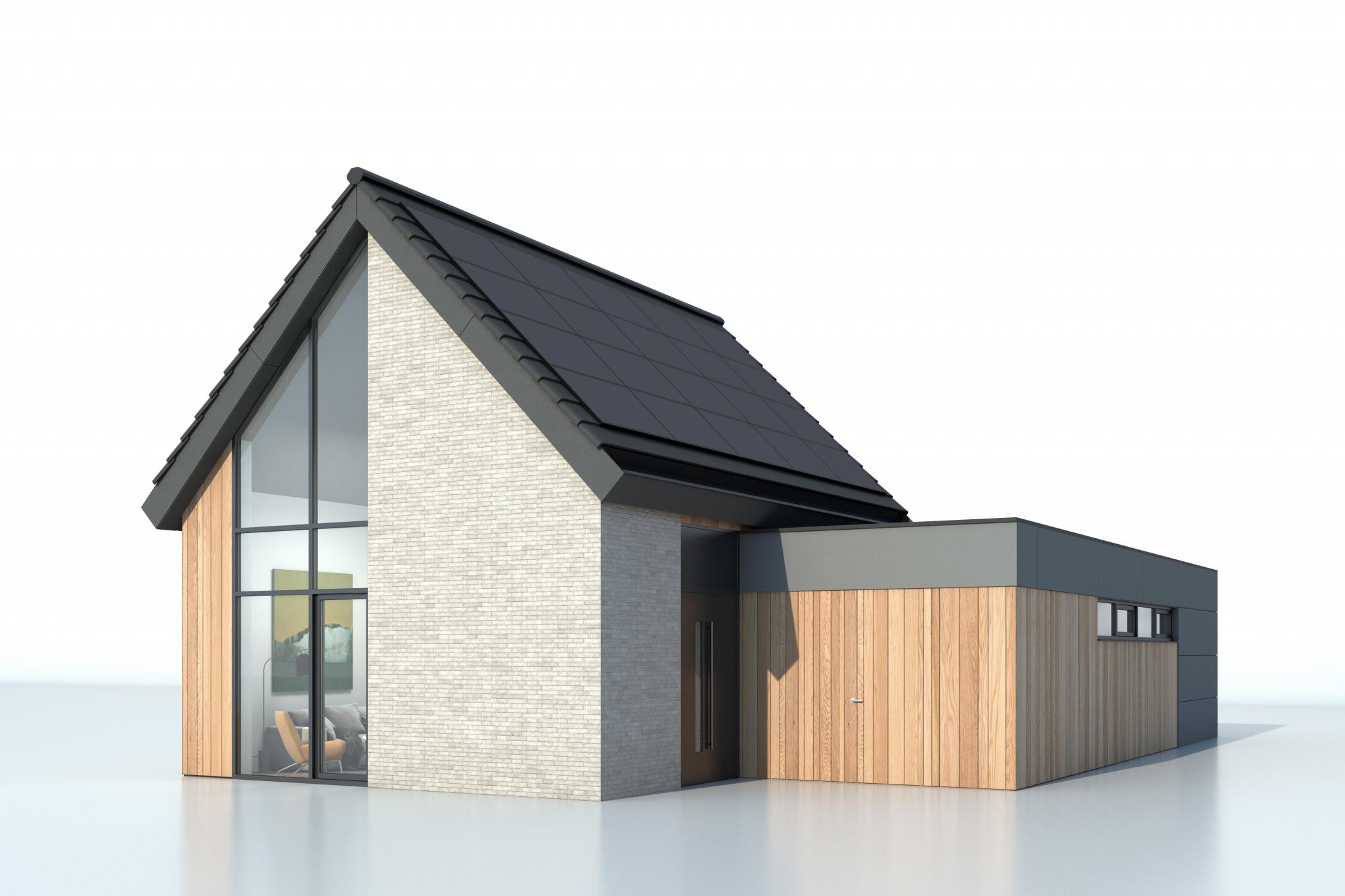 Bungalette nieuwbouw bungalow, type met zadeldak (dwarskap). Gezien vanaf ooghoogte.