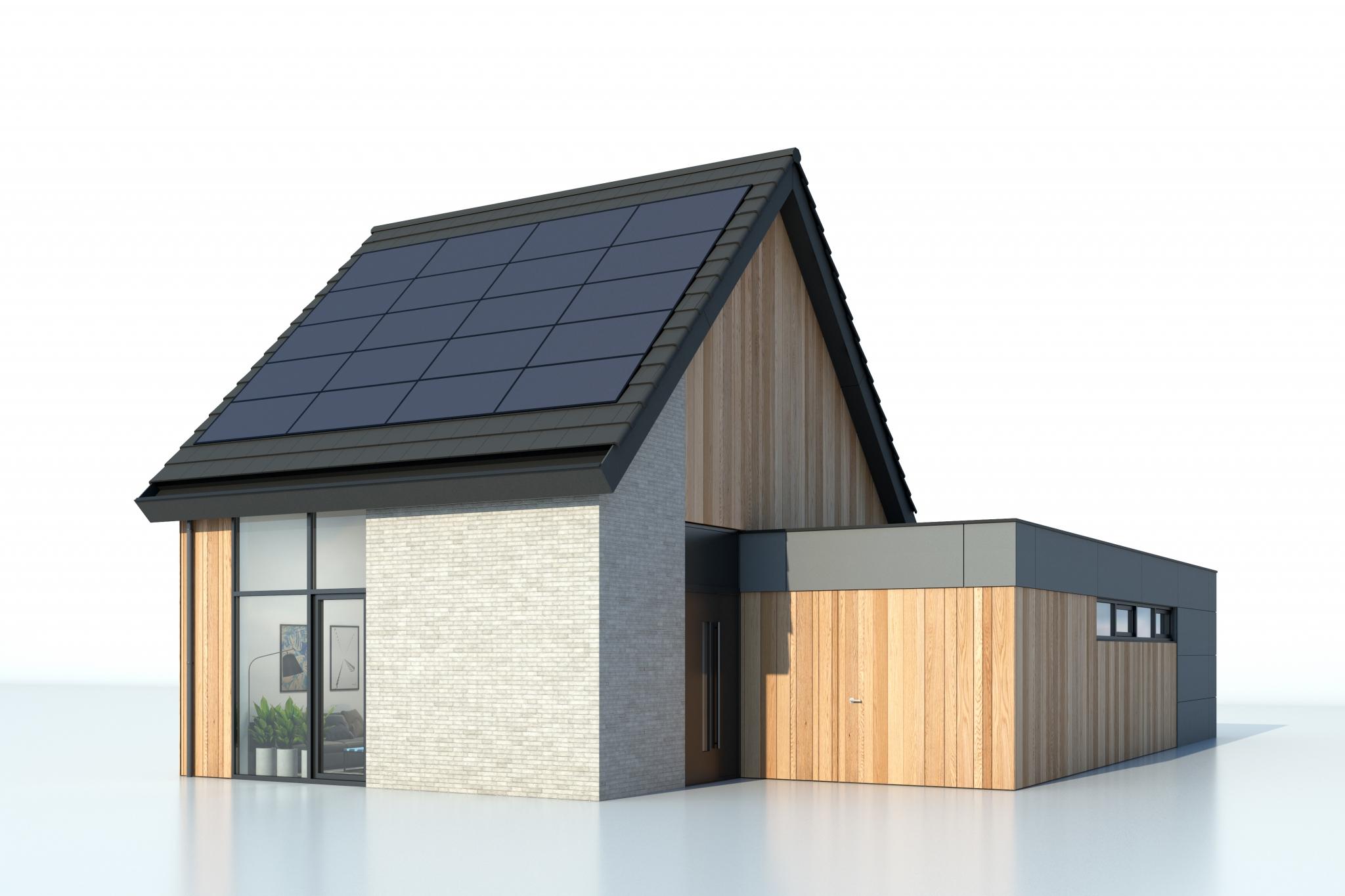 Bungalette nieuwbouw bungalow, type met zadeldak (langskap). Gezien vanaf ooghoogte.