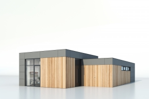 Bungalette nieuwbouw bungalow, type C met plat dak. Gezien vanaf ooghoogte.