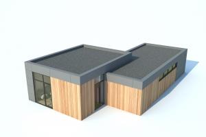 Bungalette woning met plat dak, vanuit vogelvlucht perspectief gezien
