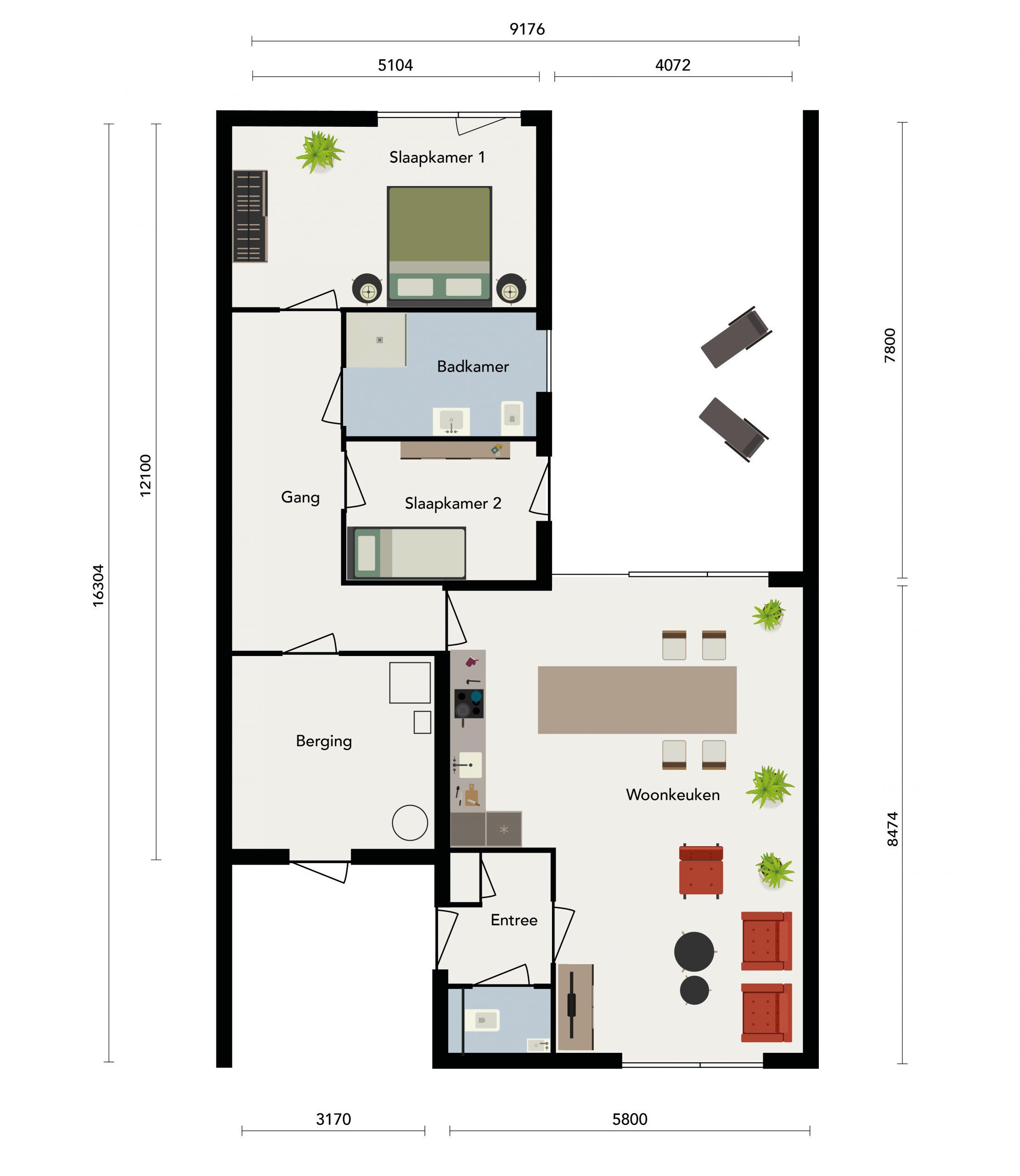 Bungalette, plattegrond met zeer praktische indeling: optimaal nut van iedere ruimte!